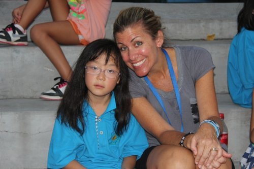 Becky and one of her students in the Jinan Camp