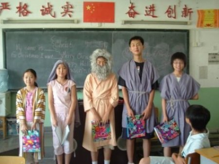 Students in Xian performing a Christmas skit