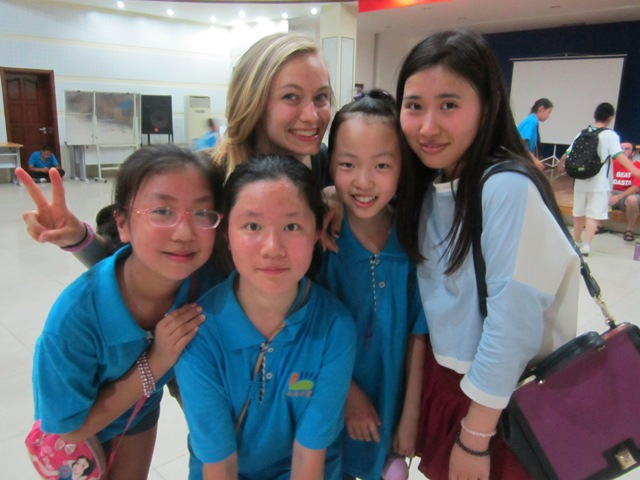 Hannah with new friends in Jinan