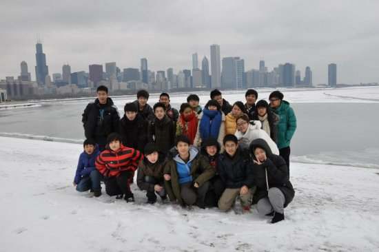 These are the New Bridge Winter Camp students from Beijing, China visiting the American hosts in Kansas City, MO.